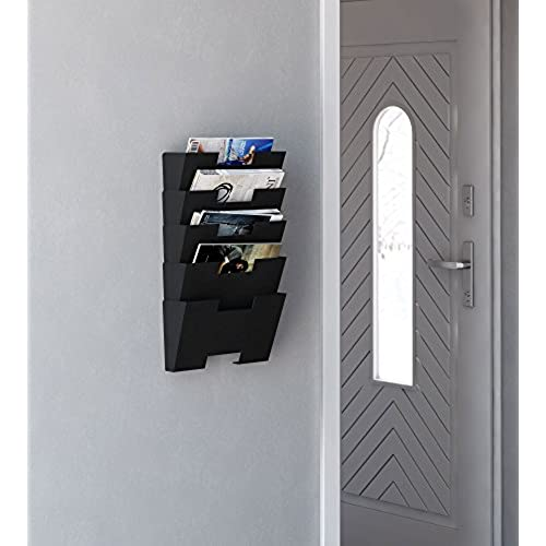 hanging wall file folder steel magazine newspaper rack holder cascading wall organizer 5 pack black lovely