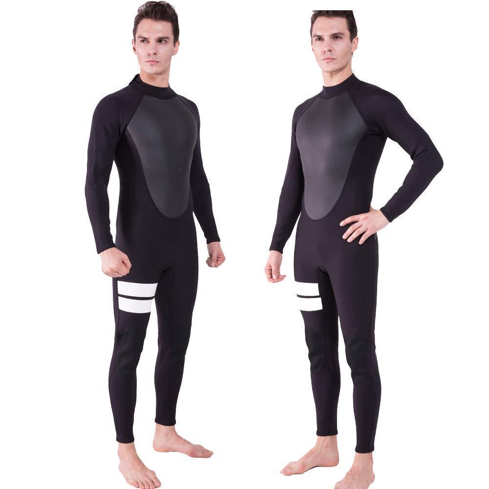 Realon Wetsuit Men Full 3/4mm Surfing Suit Diving Snorkeling Swimming Jumpsuit (3/4mm Black, Medium)