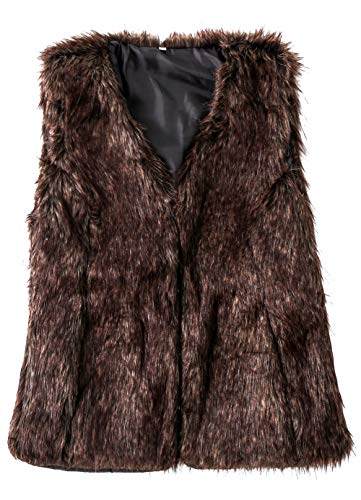 Sleeveless Fur - SUNDAY ROSE Women's Faux Fur Vest Warm Sleeveless Jacket Gilet with Pockets,Color Coffee,Size M