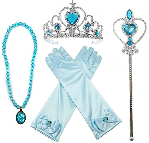 Princess Elsa Dress up Party Accessories 4 Piece Set Gloves, Tiara, Wand and Necklace(Lake (Frozen Costume Accessories)
