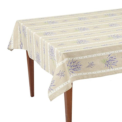 Occitan Imports Valensole Beige Striped Rectangular French Tablecloth, Coated Cotton, 61 x 98 (6-8 people)