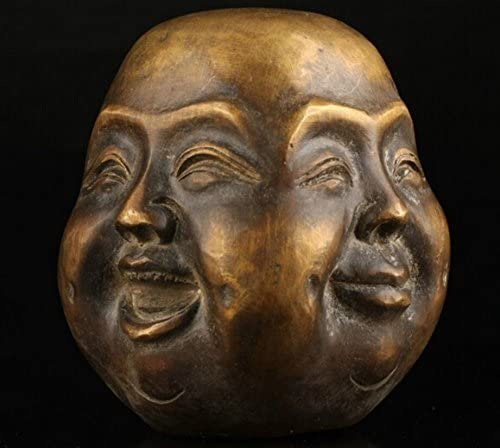 old White Copper Collection Chinese Handmade 4 Face Buddha head Statue