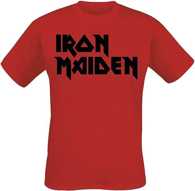 Iron Maiden Classic Logo Hombre Camiseta Rojo, Regular: Amazon.es: Ropa y accesorios