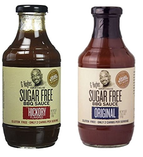 G Hughes Smokehouse Sugar Free BBQ Sauce, Hickory, 18 & SF Original 18 oz (Pack of 2) (Best Barbecue Sauce Brand)