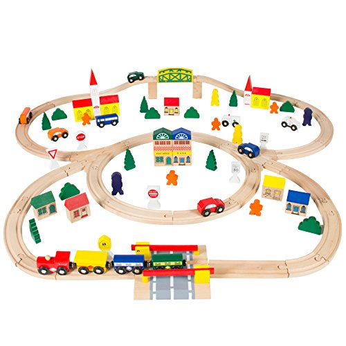 Marketworldcup- 100pc Hand Crafted Wooden Train Set Triple Loop Railway Track Kids Toy Play Set