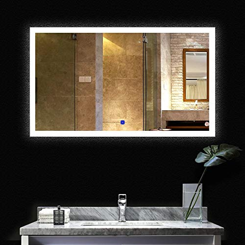 BATH KNOT LED Wall Mounted Horizontal Backlit Large Vanity Mirror with Lights and Defogger - Bathroom Silvered Makeup Vanity Mirror with ETL Certification for Whole Mirror, 60 x 36 Inch