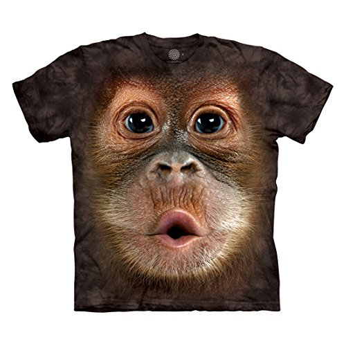The Mountain Men's Big Face Baby Orangutan T-Shirt, Black, L (5ive Jungle Shirts)