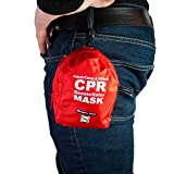 WNL Products Adult/Child & Infant Pocket CPR Rescue Resuscitation Mask Kit with One Way Valve and Belt Clip in Soft Red Case