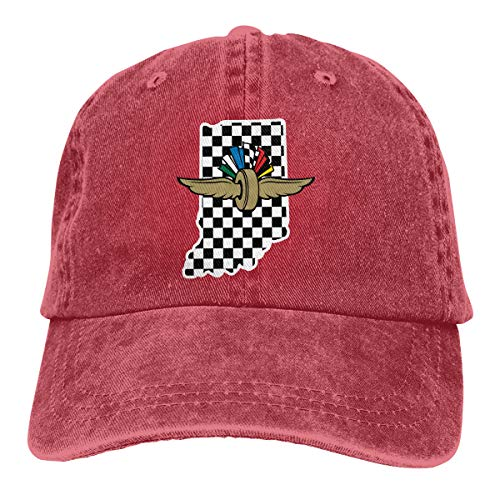 (JAXX9 Black and White Squares Race Car Flag Washed Cotton Baseball Cap Adjustable Hat for Women Men Red)
