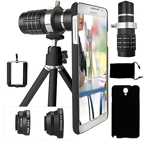 CamKix Camera Lens Kit for Samsung Galaxy Note 3 including 12x Telephoto Lens / Fisheye Lens / Macro and Wide Angle Lens / Tripod / Phone Holder / Telephoto Lens Holder Ring / Hard Case / Velvet - Velvet Lens