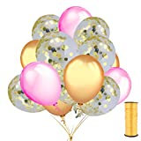 Home Kitty 45 Pcs Confetti Balloons 12'' Gold Foil Pre-Filled with 12'' Gold and Pink Latex Party Balloons and a Gold Balloon Ribbon for Wedding Engageme Birthday Baby Shower Party Supplies