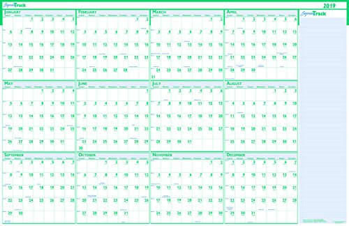 (House of Doolittle 2019 Laminated Wipe Off Wall Calendar, Express Track, Reversible, 24 x 37 Inches, January - December (HOD392-19))