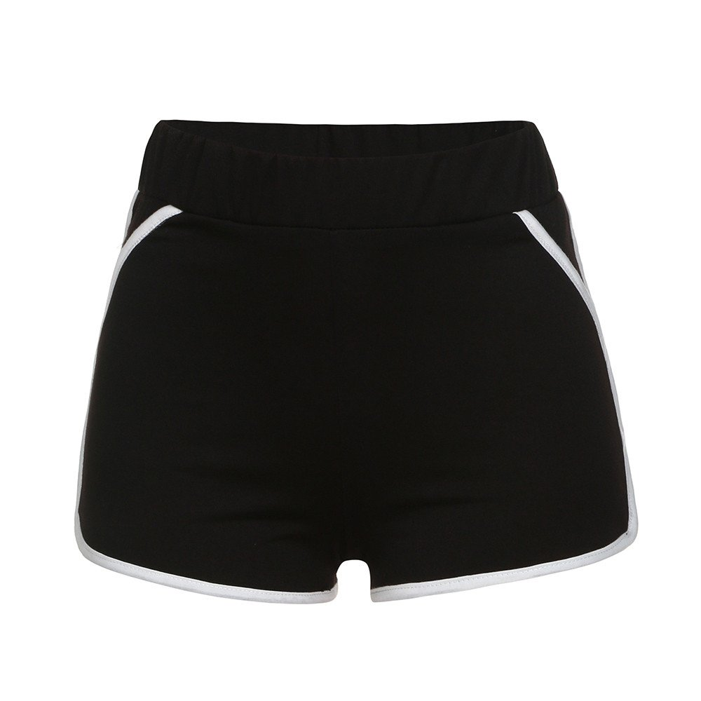 Qiujold Women Girls Running Shorts Gym Workout Yoga Sport Performance Shorts (M, Black)
