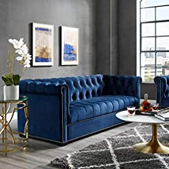 Farmhouse Living Room Furniture Modway Heritage Tufted Performance Velvet Upholstered Chesterfield Sofa with Nailhead Trim in Midnight Blue farmhouse sofas and couches