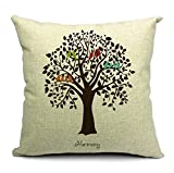 Decorative Pillow Cover - CoolDream Cotton Linen Square Decorative Throw Pillow Case Shell Cushion Cover Bird On Tree 18