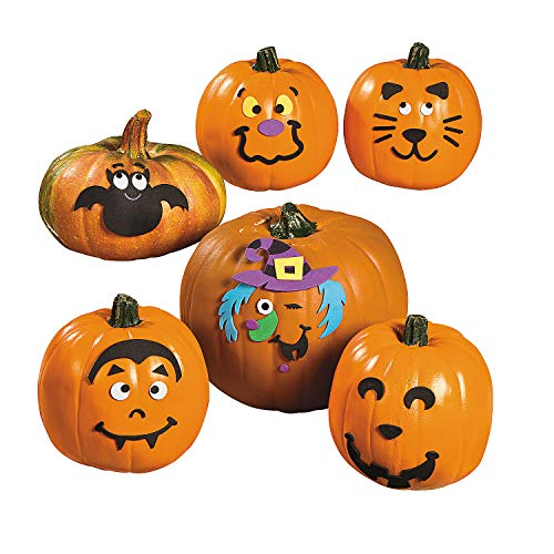 Fun Express - Small Pumpkin Faces Craft Kit for Halloween - Craft Kits - Home Decor Craft Kits - 3 - D Tabletop - Halloween - 12 Pieces