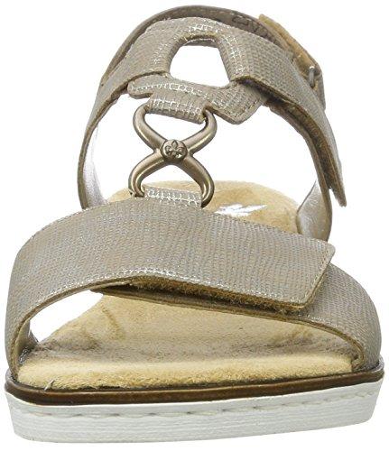 63687 64 para Rieker Mujer Fango Cuña Sandalias silver Beige con ZzddqxSUwg