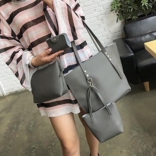 Crossbody Set Leather Pattern Bag 4Pcs Handbag Wallet Women Gift Bag VJGOAL Gray Shoulder qtYvc
