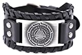 VASSAGO Vintage Nordic Viking Runes Odin's Symbol Valknut Cuff New-style Leather Bracelet for men women (Black Leather, Antique Silver)