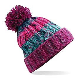 583 Winter Bobble Hat Beanie – Ski Snowboard Chunky Knit Unisex Men's Women's (Unisex One Size, Winter Berries)