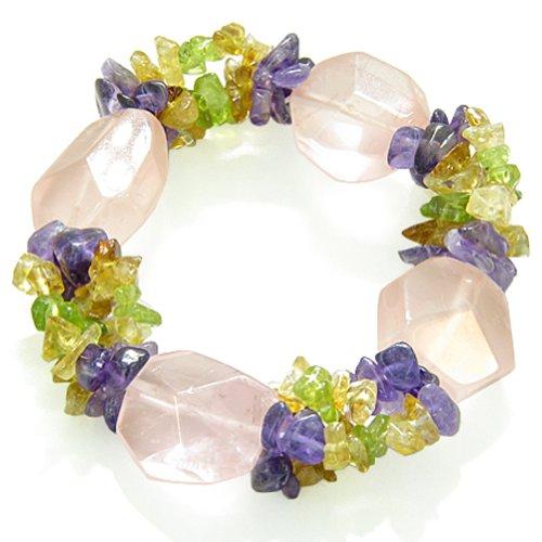 Amulet Healing Faceted Rose Quartz Crystal with Gemstone Chips Bracelet
