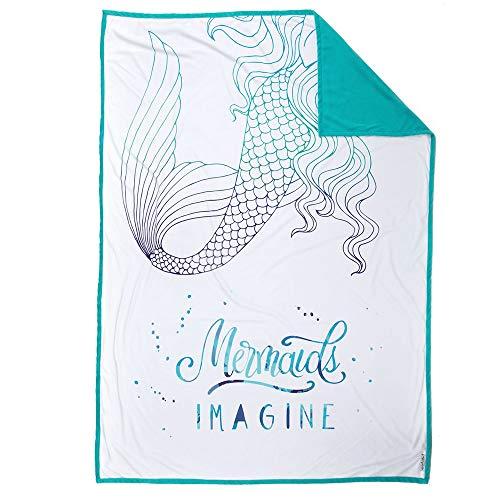Mermaid Pillow Co Imagine Mermaid Blanket Inspiring and Motivational Kids Plush Throw Velvet Childrens Blanket 48 x 60