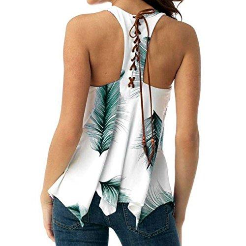 Camiseta Blusa Pluma euzeo❤️moda Floral De Verde Camisetas Mangas Mujer Verano ❤️ Algodon Impreso Mujer Tops Sin FP8q8f