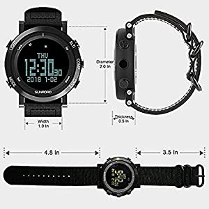 SUNROAD Men's Smart Digital Barometer Altimeter Compass Waterproof Watch with LED Screen Large Face Altimeter Watches & Waterproof Casual Luminous Stopwatch Wristwatch