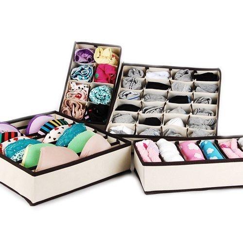 TSSS Drawer Dividers Closet Organizers Bra Underwear Storage Boxes 4 Set