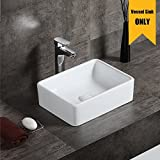 AWESON 16''X12'' Rectangular Ceramic Vessel Sink, Vanity Sink, Above Counter White Countertop Sink, Art Basin Wash Basin for Lavatory Vanity Cabinet