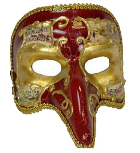 Costume Pulcinella (Venetian Mask Pulcinella Cracked Red Mardi Gras Halloween Costume)