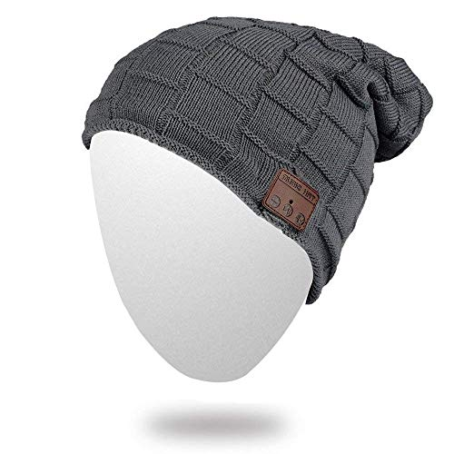 Onedayshop Wireless Knitted Beanie Built-in Stereo Speaker for Listening Music Hands Free Call Answer Hat (darkgrey1)