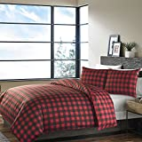 3pc Black Red Plaid Duvet Cover Full Queen Set, Percale Cotton, Cabin Themed Bedding Checked Lumberjack Pattern Lodge Southwest Tartan Madras Crisscross Squares Hunting