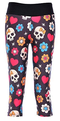 Sister Amy Women's 3D Pattern Print Workout Running Capri Pants Crop Leggings Butterfly Skulls US L