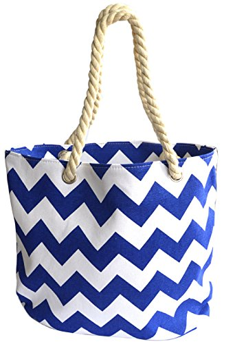 Octave , Borsa da spiaggia Donna Zig Zag Design - Blue & White