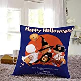 Cotton Linen Square Decorative Throw Pillow Case Personalized Cushion Cover Halloween Gifts Ghost Bats Pumpkin and Owls Trick or Treat By WuyiMC(A-P) (A)