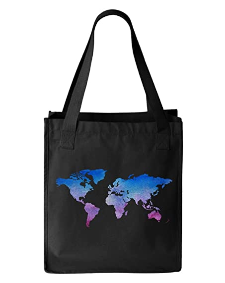 Amazon watercolor world map canvas tote bag organic cotton watercolor world map canvas tote bag organic cotton black gumiabroncs Choice Image