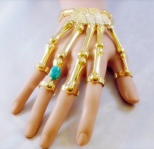 10k Solid Gold Ring (Punk Bracelet Bangle Slave Ghost Skeleton Chain Finger Rings Hand Harness Gold bohemian boho vintage)