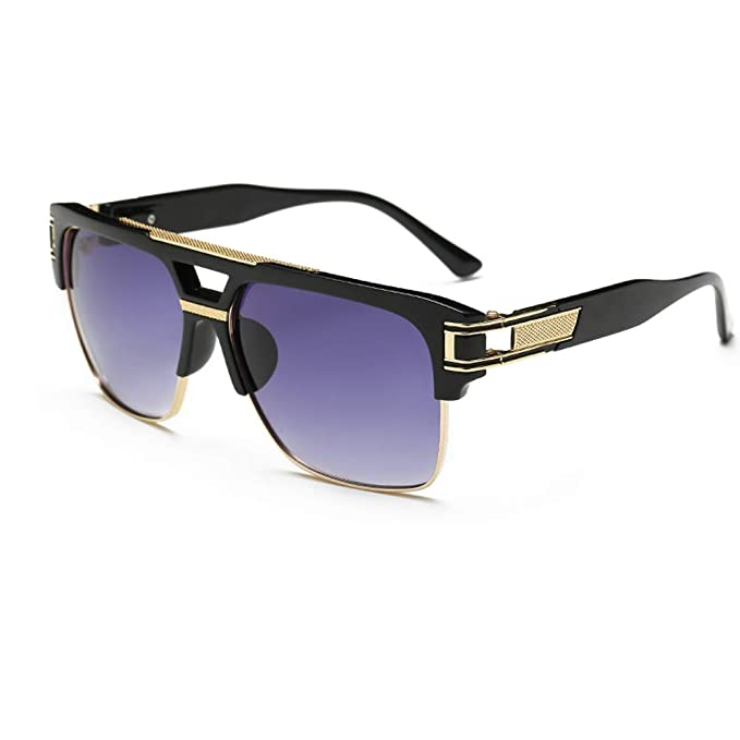 148cb93ab36b Semi Rimless Sunglasses for Men Gold Square Frame with Gradient Lens  Classic Aviator Goggle Retro Brand
