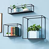 UNHO Cube Wall Shelves,Floating Display Set of 3 Wall Shelf DIY Plant Decor Wall Mount Bedroom, Living Room, Bathroom, Kitchen, Office