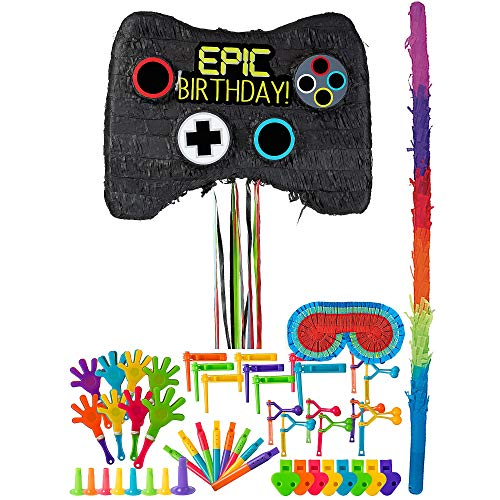 Party City Video Game Controller Pinata Kit for Birthday Party, Includes Bat, Blindfold and 48pc Favor Pack -