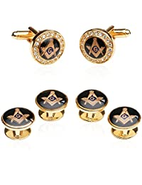 Freemason Crystal Gold-Tone Masonic Formal Set Cufflinks and Studs by Cuff-Daddy