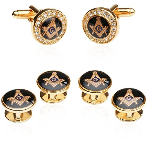 Cuff-Daddy Mens Freemason Crystal Gold Tone Masonic Formal Set Cufflinks and Studs with Presentation Box