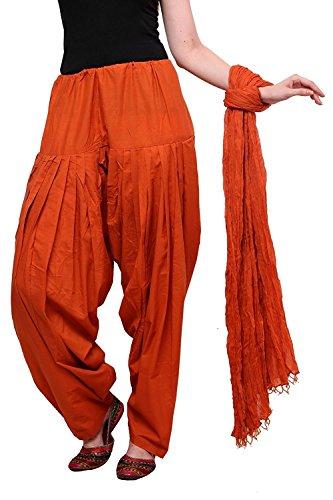 Ruchi Mart Women Patiala Salwar With Dupatta Cotton Baggy Plain Trouser Rust Orange (Rust Salwar)