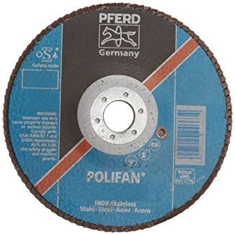 PFERD Polifan SGP Abrasive Flap Disc, Type 27, Round Hole, Phenolic Resin Backing, Zirconia Alumina