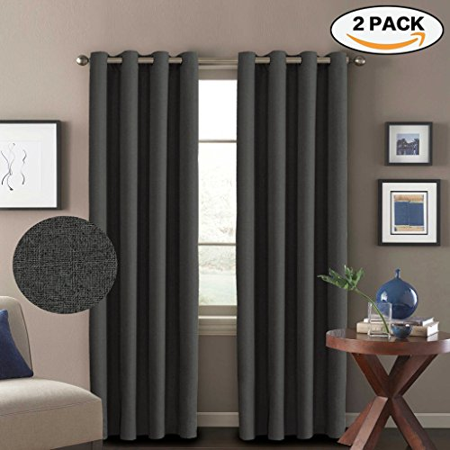 H.Versailtex Premium Energy Saving Thermal Insulated Textured Linen Living Room Curtains,Ultra Elegant 8 Grommets per Panel,52 by 84 - Inch (Set of 2) - Charcoal Gray (Room Window Curtains Living)