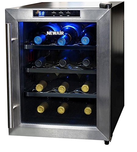 12-Bottle Stainless-Steel Black Vibration-Free Digital Temperature Control Wine Cooler, 3 Removable Shelves