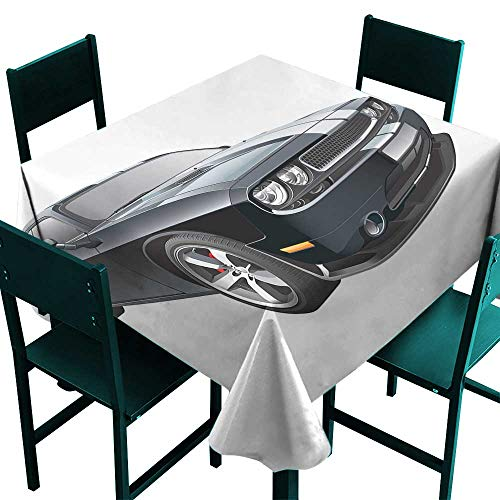 - All of better Cars tablecloths Black Modern Pony Car with White Racing Stripes Coupe Motorized Sport Dragster Black Grey White Tablecloth 4 Seater W 54