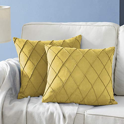 Longhui bedding Mustard Yellow Throw Pillow Covers - 2-Pack 18 x 18 Inch Cushion Covers - Sturdy and Discrete Zipper Opening - Premium Quality Polyester - Decorative Pillow Covers for Couch Sofa Bed