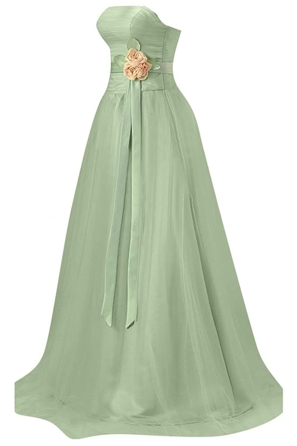 Sunvary Strapless Draped Ruffle Side Zipper Rhinestone Bridesmaid Prom Gowns-18-Sage